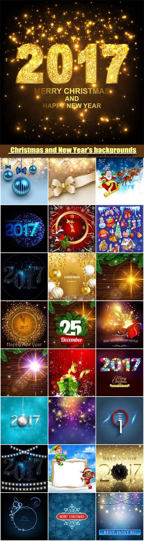 Vector set of Christmas and New Year's backgrounds