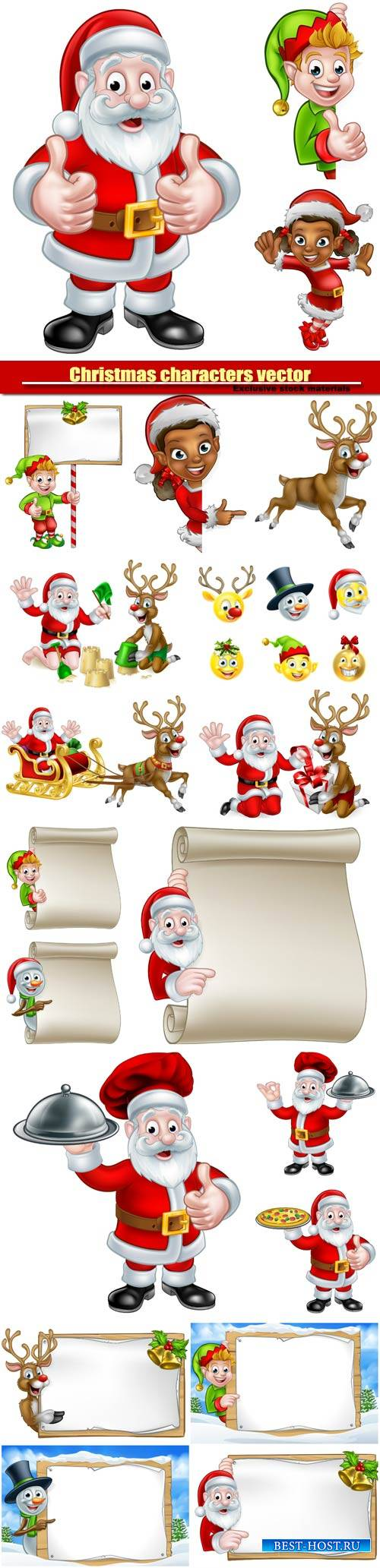 Christmas characters vector, Santa and elves