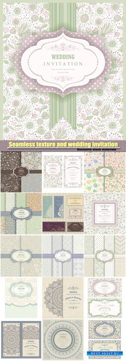 Vintage seamless texture and wedding invitation vector
