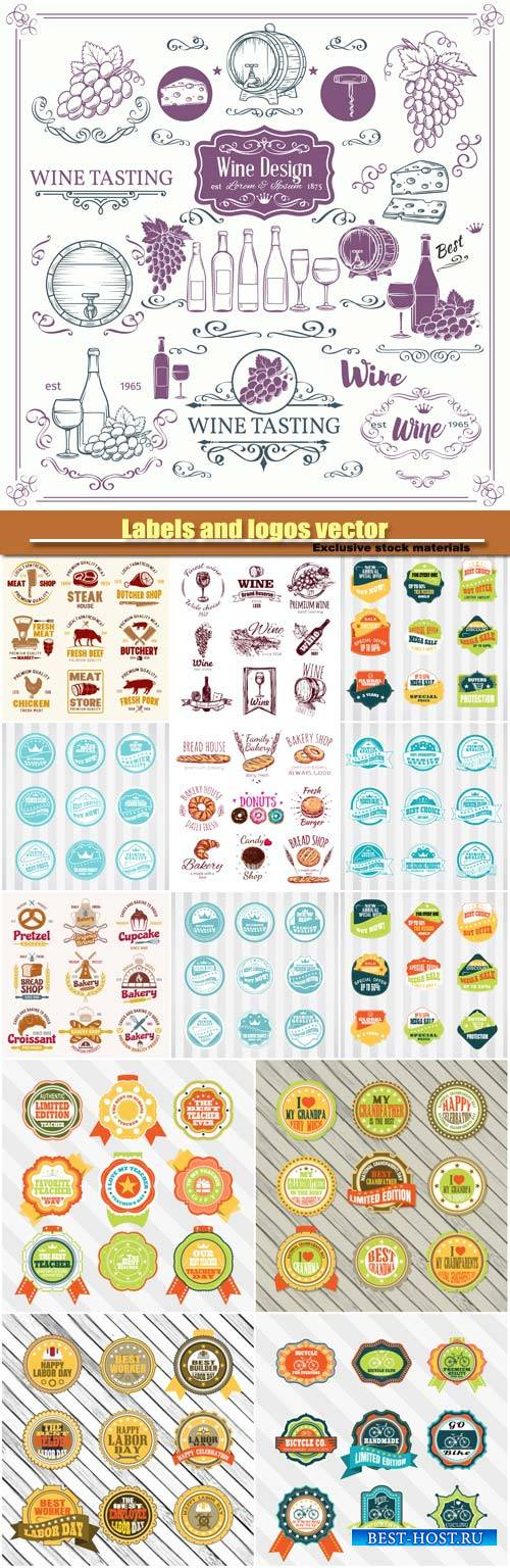 Labels and logos vector