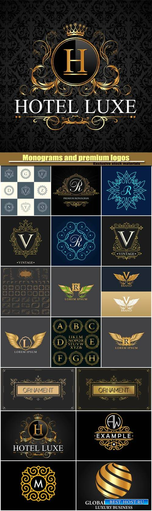 Monograms and premium logos in vector, vintage  and ornaments