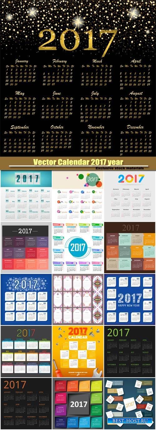 Modern vector Calendar 2017 year