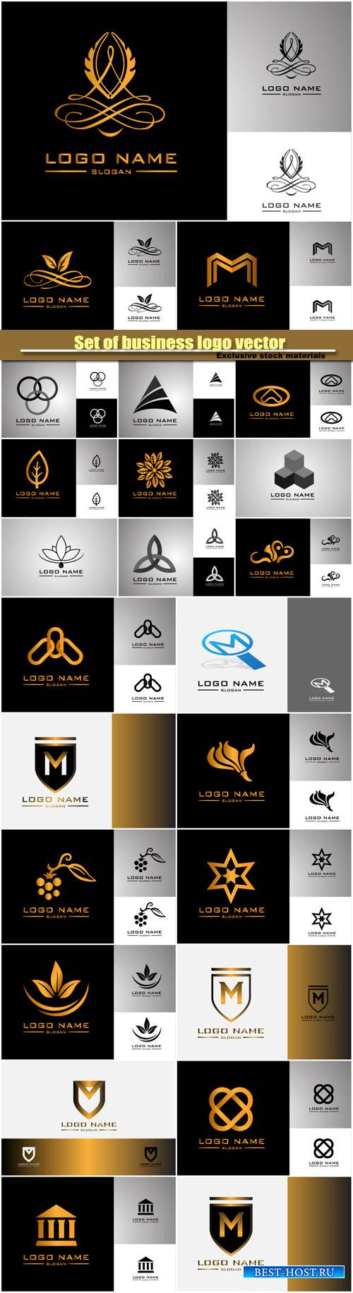 Set of business logo vector
