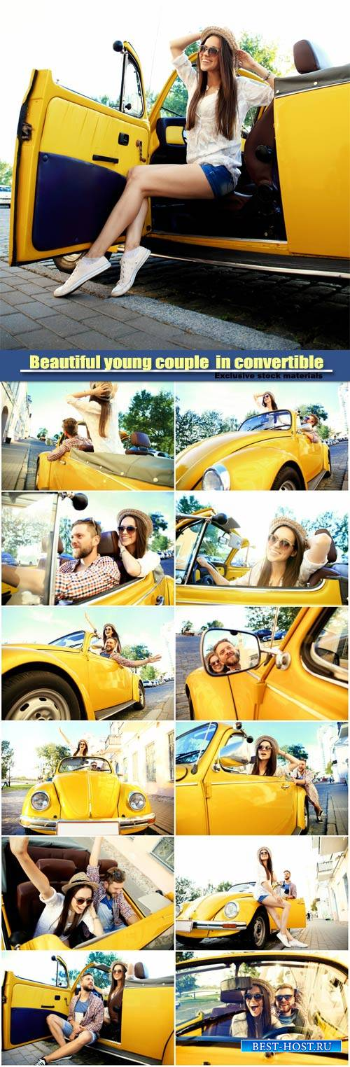 Beautiful young couple enjoying road trip in convertible