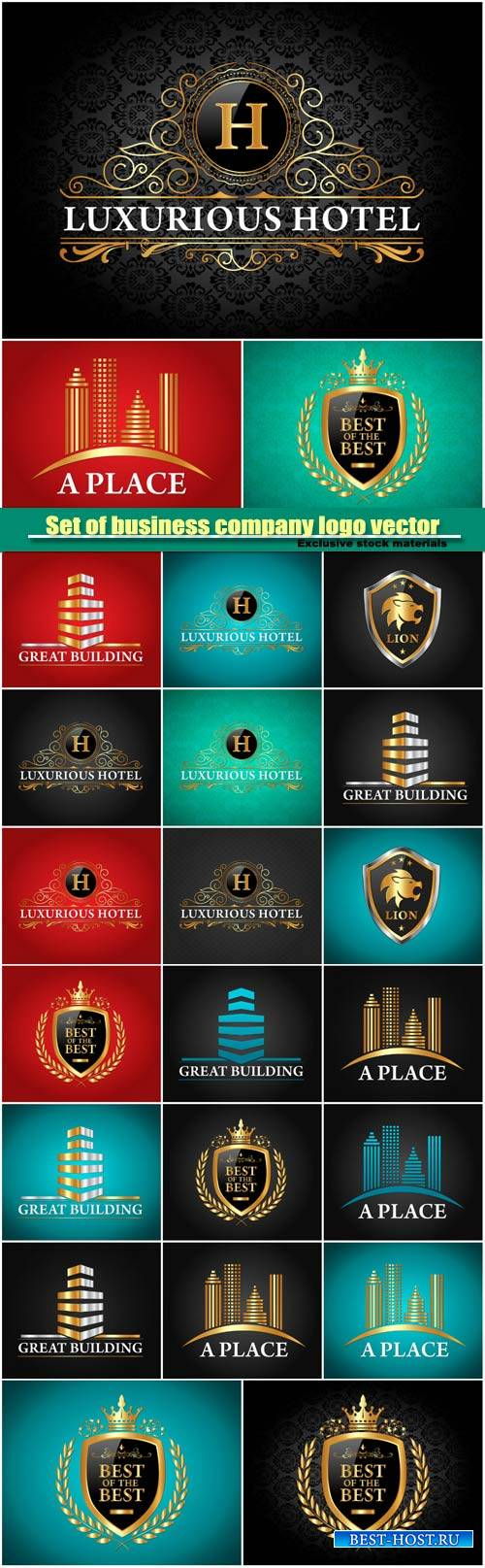 Set of golden luxurious logo vector