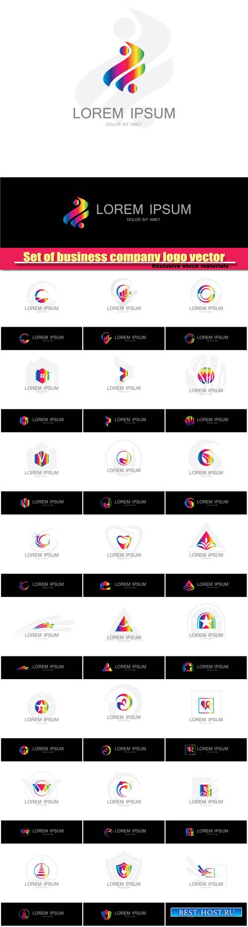 Set abstract company logo vector