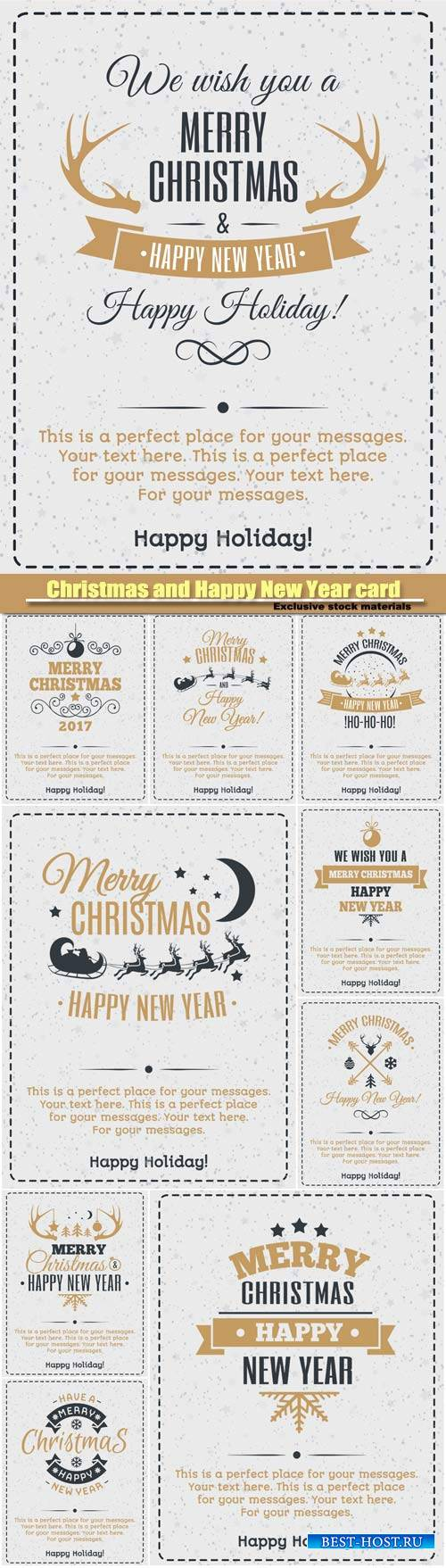 Christmas and Happy New Year card, gold color style, vintage christmas labe ...