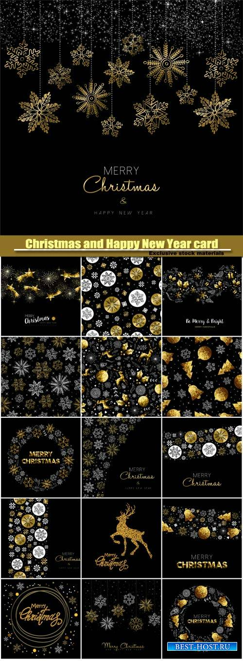 Christmas and Happy New Year, gold decoration pattern