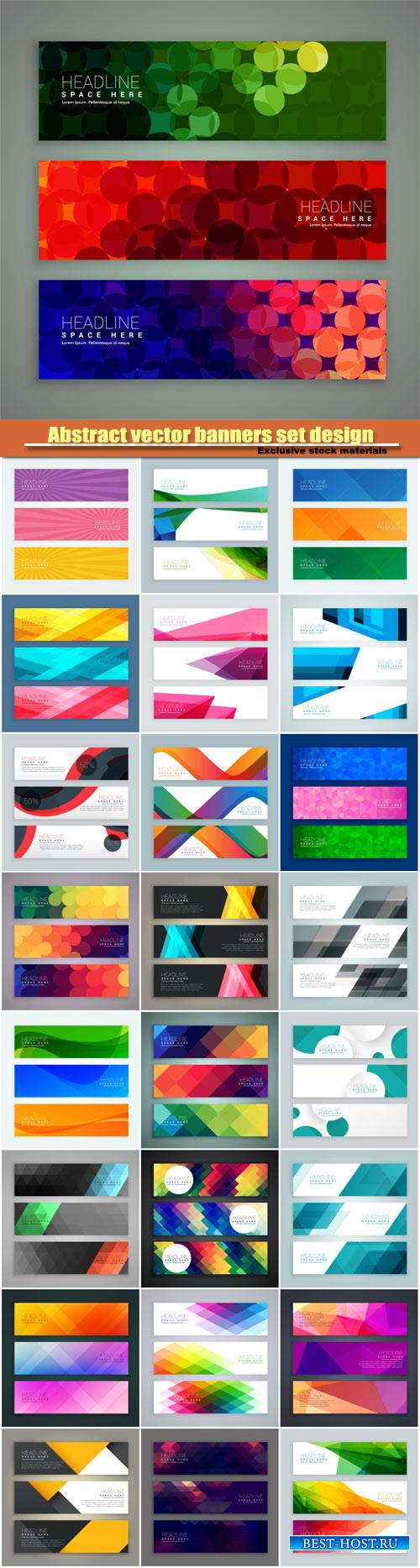 Abstract vector banners set design made with circles