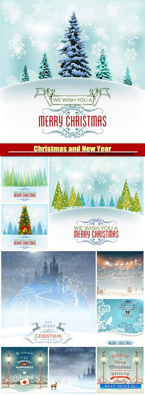 Christmas and Happy New Year, vector holiday backgrounds #11