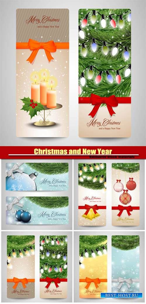 Christmas and Happy New Year, vector holiday backgrounds #8