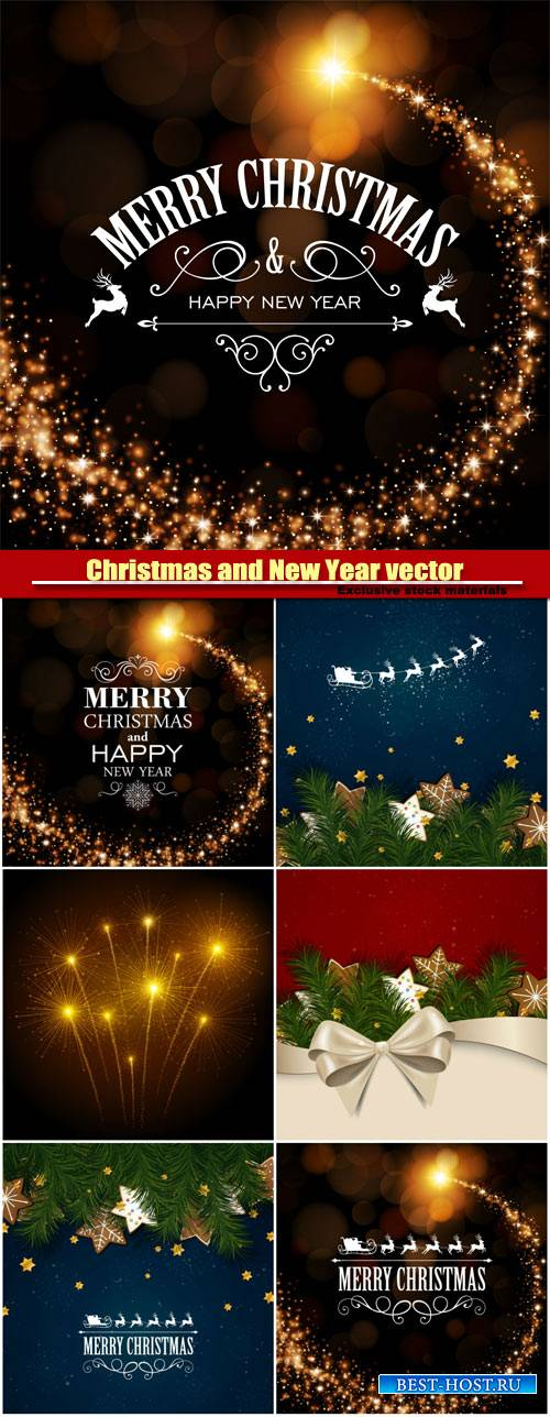 Christmas and Happy New Year, vector holiday backgrounds #5