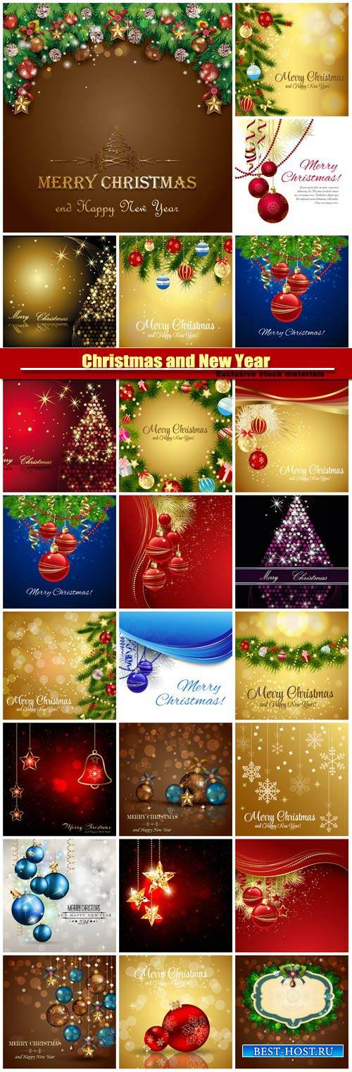 Christmas and Happy New Year, vector holiday backgrounds #10