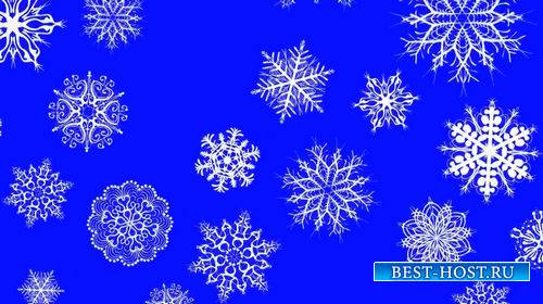 Новогодний футаж на хромакее - Падающие снежинки