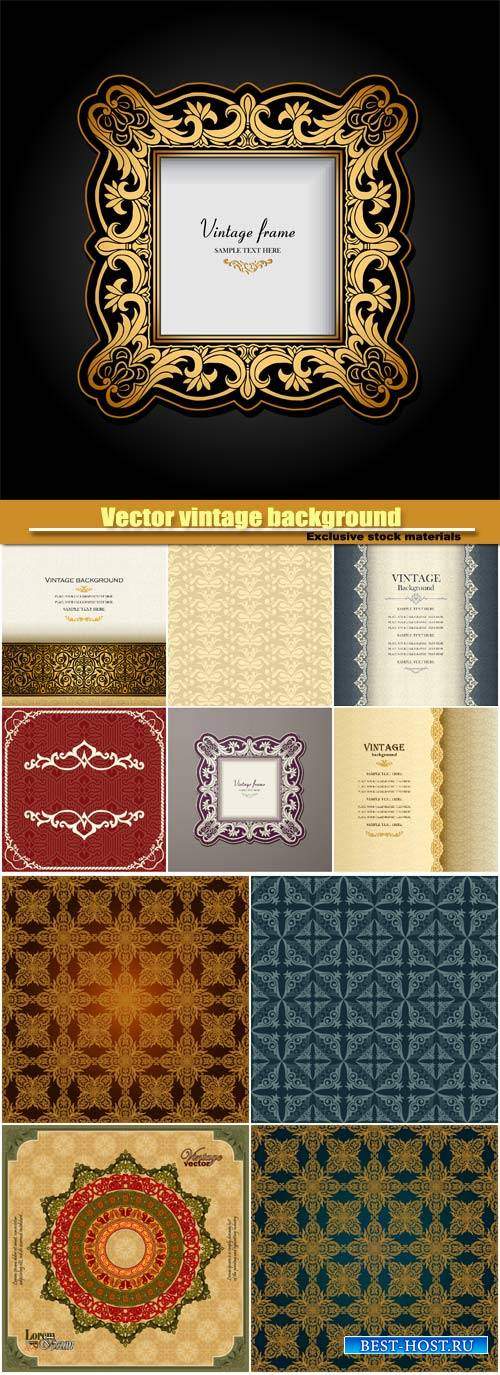Vector vintage background, ornamental, wedding invitation