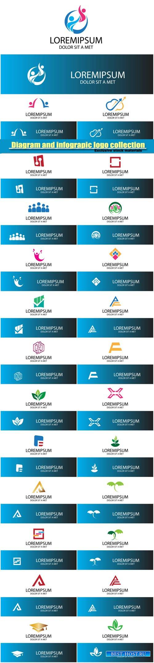 Diagram and infographic logo collection