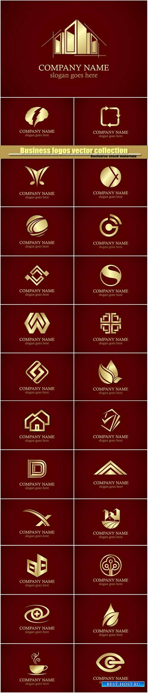 Business logos vector collection, gold design