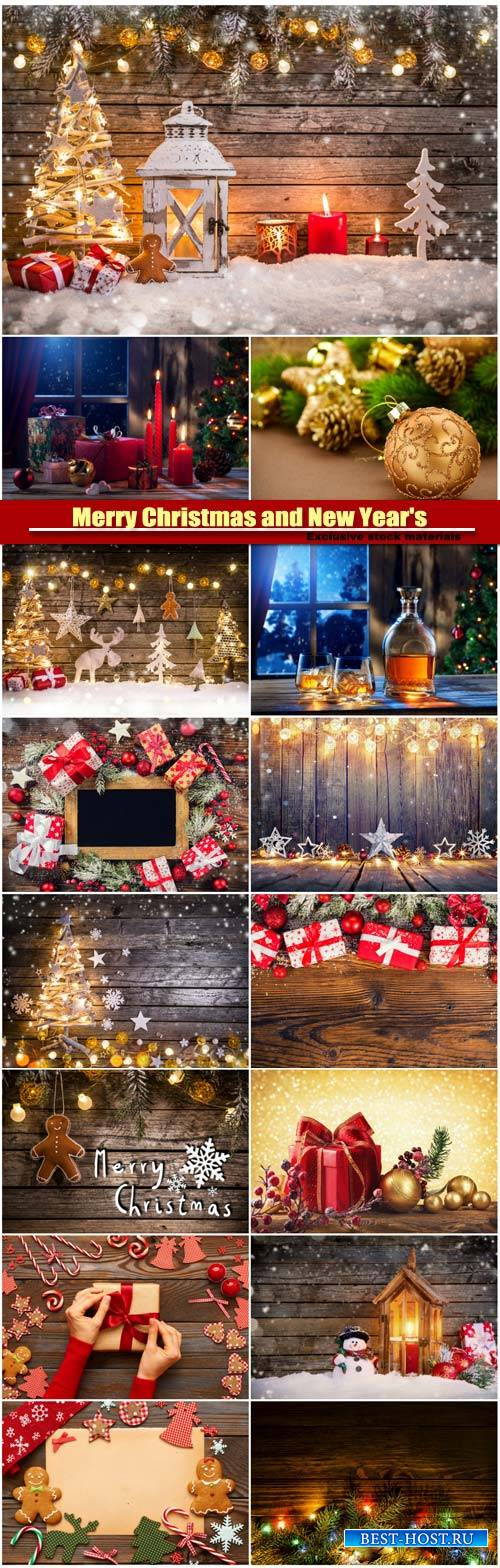 Merry Christmas and New Year's background, homemade decoration, gift box w ...