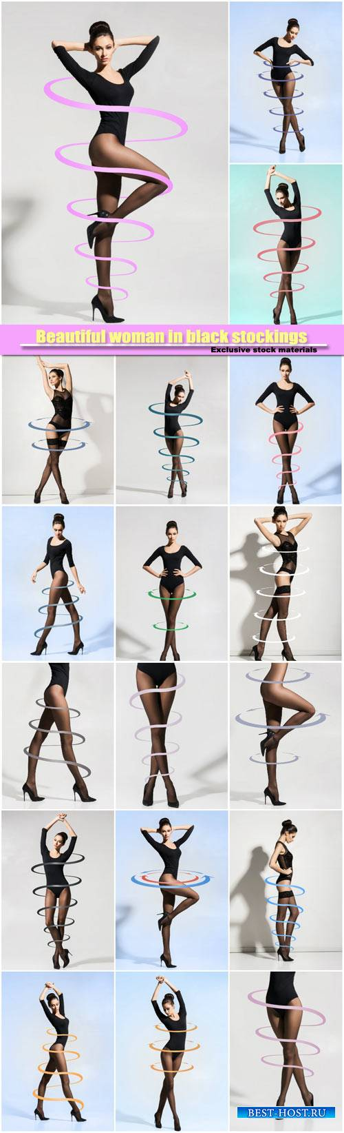 Beautiful woman in black stockings with arrows, fitness, sport and diet con ...
