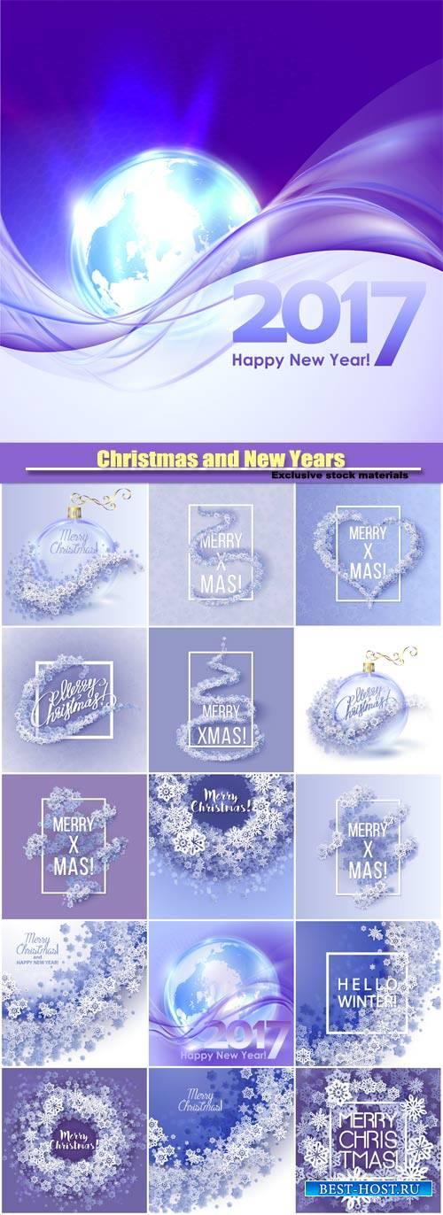 Christmas and New Years background with paper snowflakes
