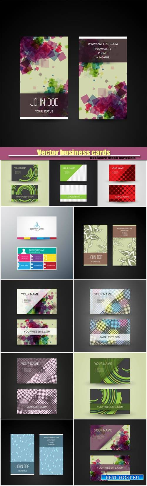 Vector business cards with abstract patterns