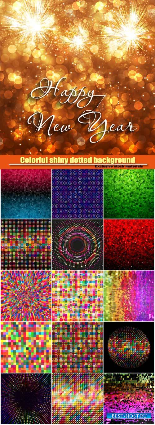 Colorful shiny dotted background, happy New Year celebration background