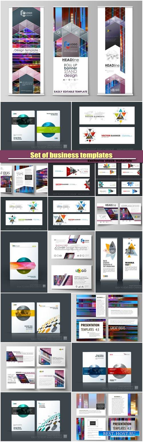 Set of business templates, brochure for exhibition, roll up banner