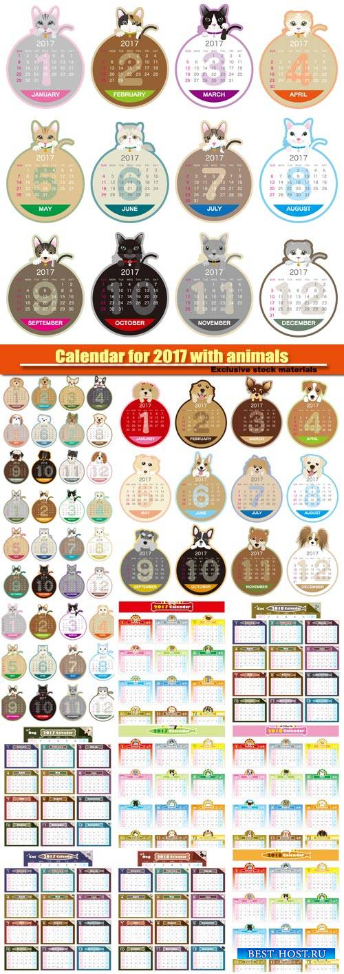 Colorful Calendar for 2017 with funny animals