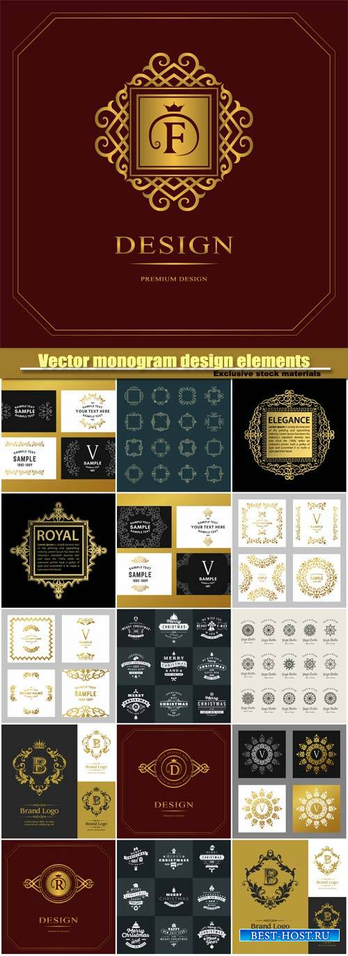 Vector monogram design elements, graceful template, calligraphic elegant li ...