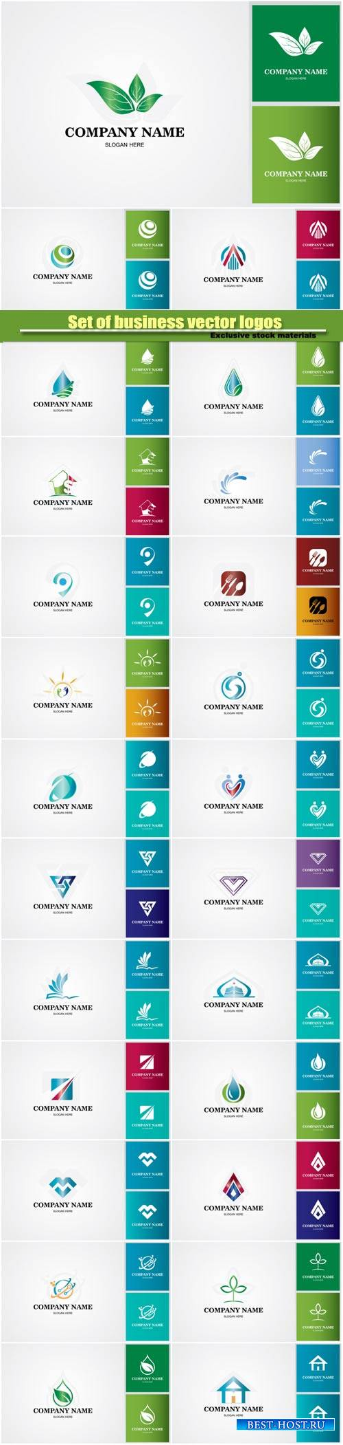 Set of various colored vector business logos