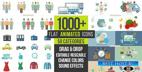 Плоские Анимированные Иконки 1000+ - Project for After Effects (Videohive)