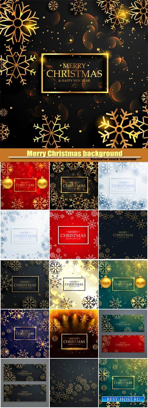 Vector Merry Christmas background with golden snowflakes and light effect
