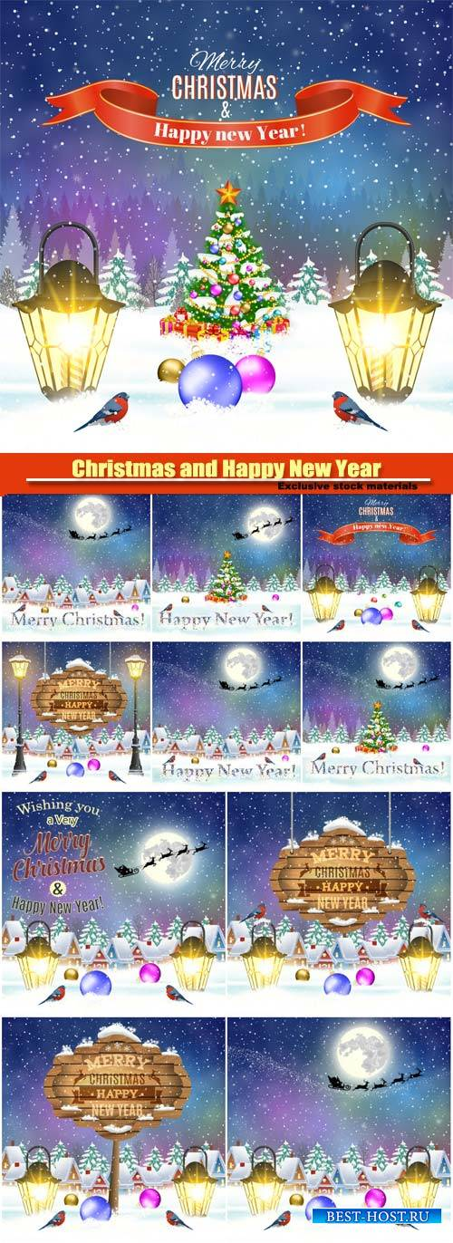 Christmas and Happy New Year vector greeting card, Santa Claus with deers i ...