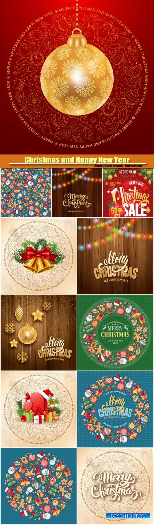 Christmas and Happy New Year vector greeting card