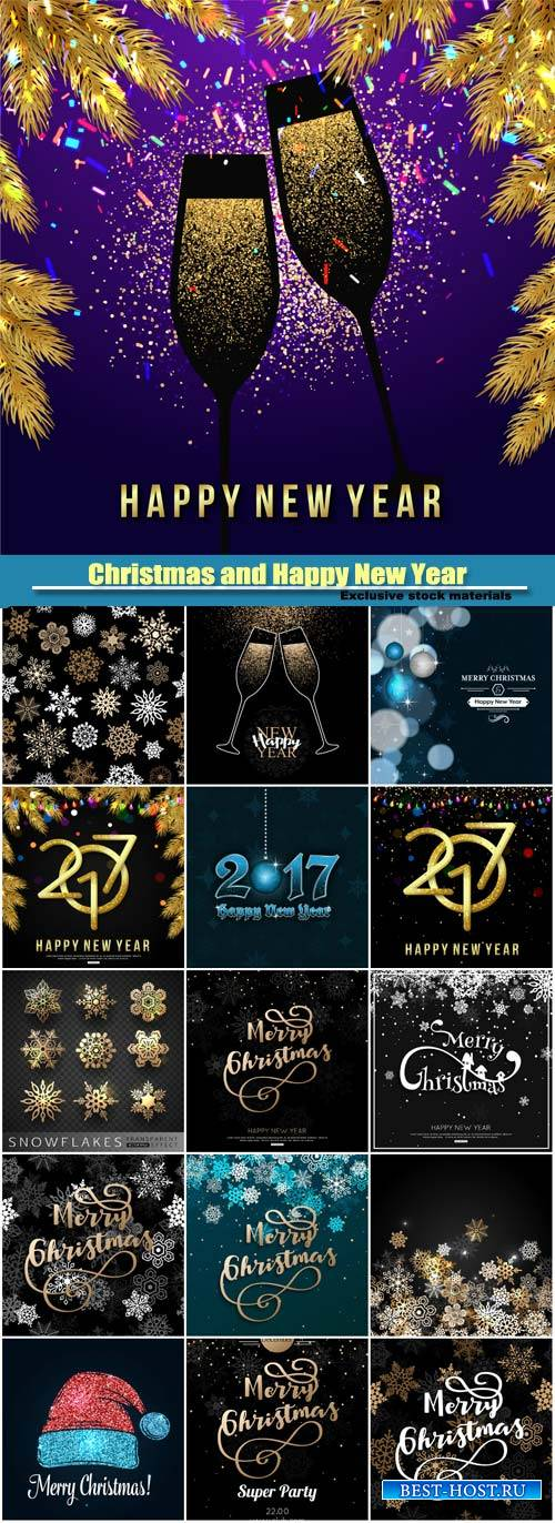 Merry Christmas and Happy New Year vector greeting card, background with go ...
