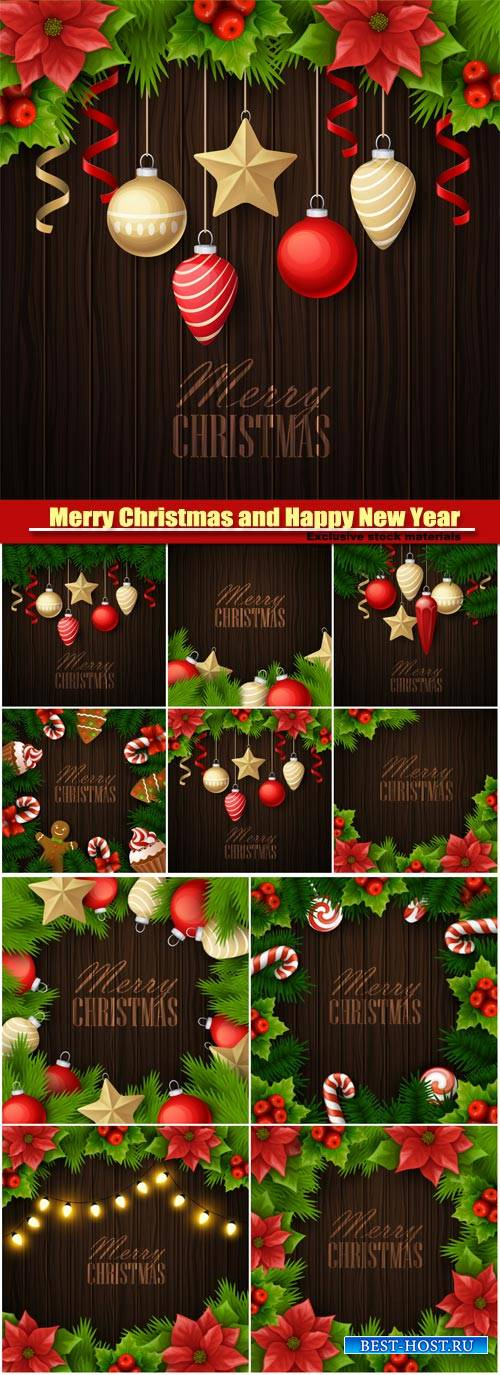 Merry Christmas and Happy New Year vector background, holiday celebration