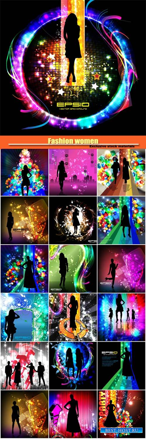 Fashion women, vector backgrounds with different color glowing effects