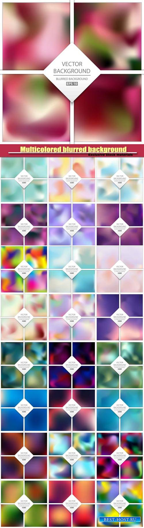 Vector creative multicolored blurred background set