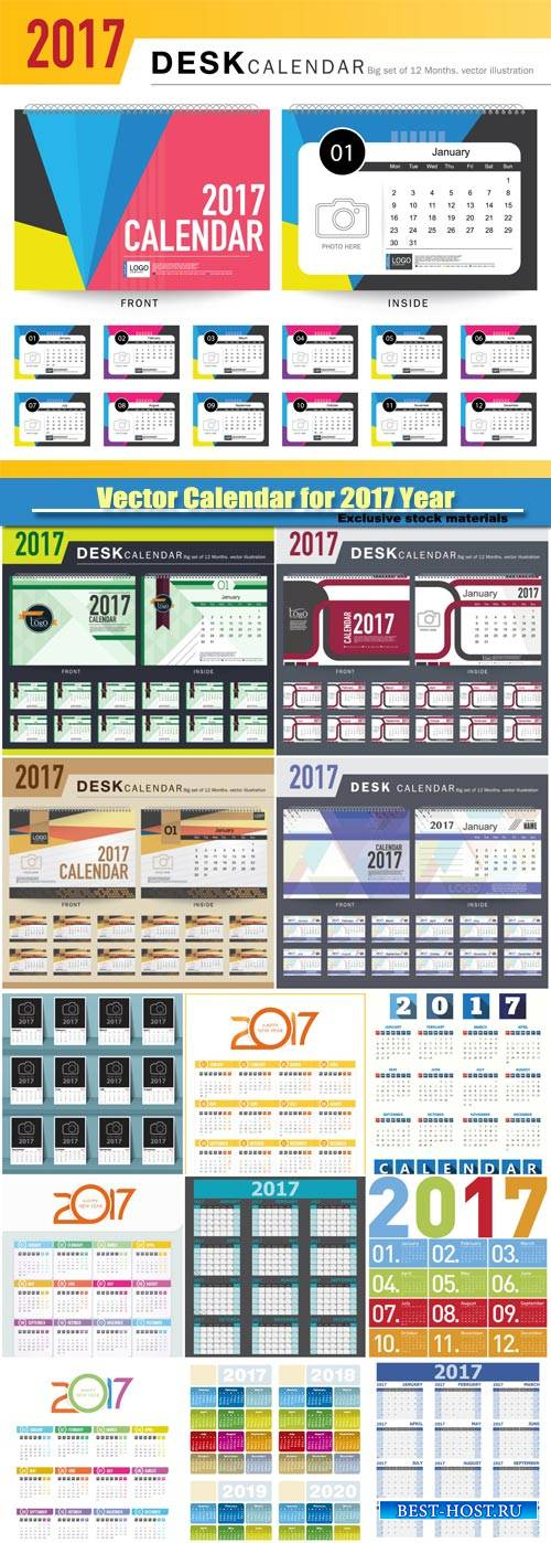 Colorful vector Calendar for 2017 Year
