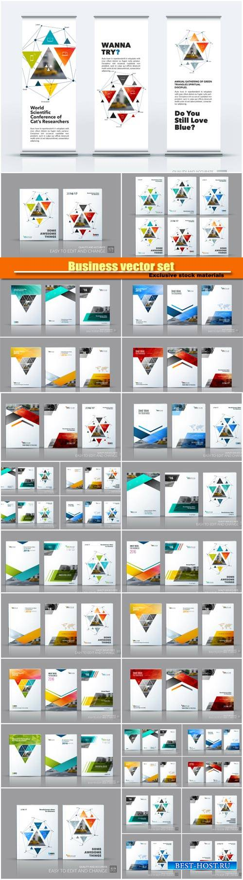 Business vector set, brochure template layout, cover design annual report
