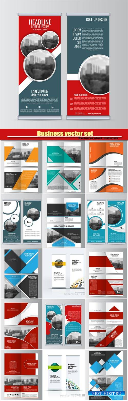 Business vector set, brochure template layout and roll up vector banner