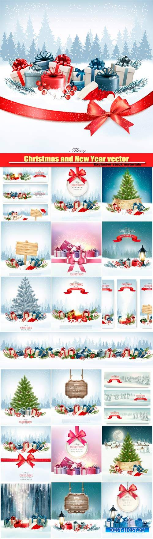 Christmas and New Year vector, holiday background, christmas tree and prese ...