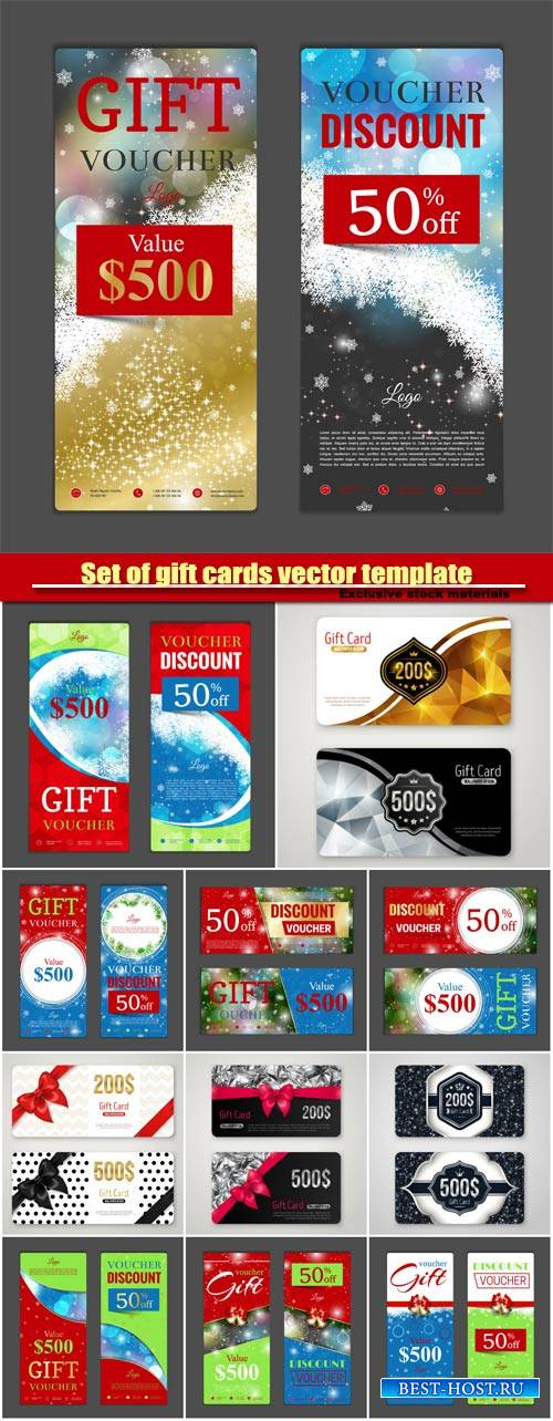 Set of gift cards vector template, voucher design