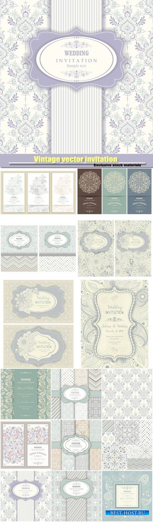 Vintage vector invitation and seamless texture