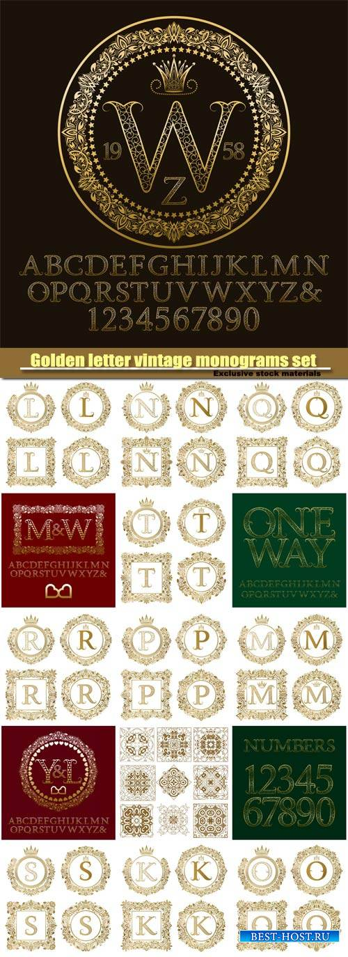 Golden letter vintage monograms set, monogram in floral, english vintage al ...