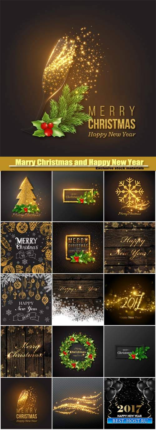 Marry Christmas and Happy New Year vector, golden decoration, champagne spl ...