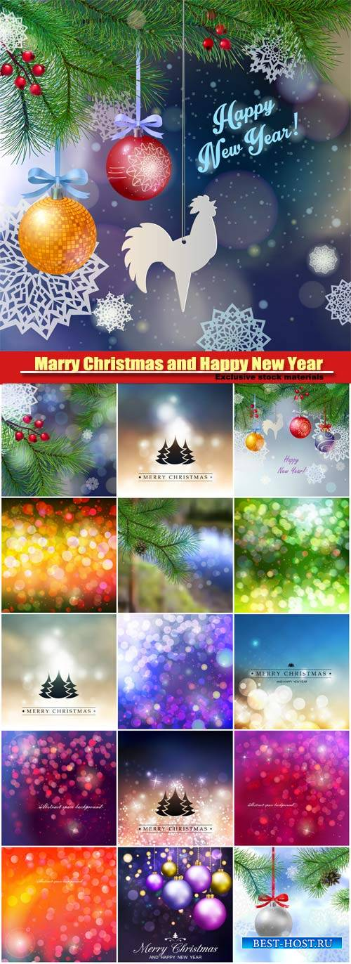 Marry Christmas and Happy New Year vector, tree branches, beautiful balls,  ...