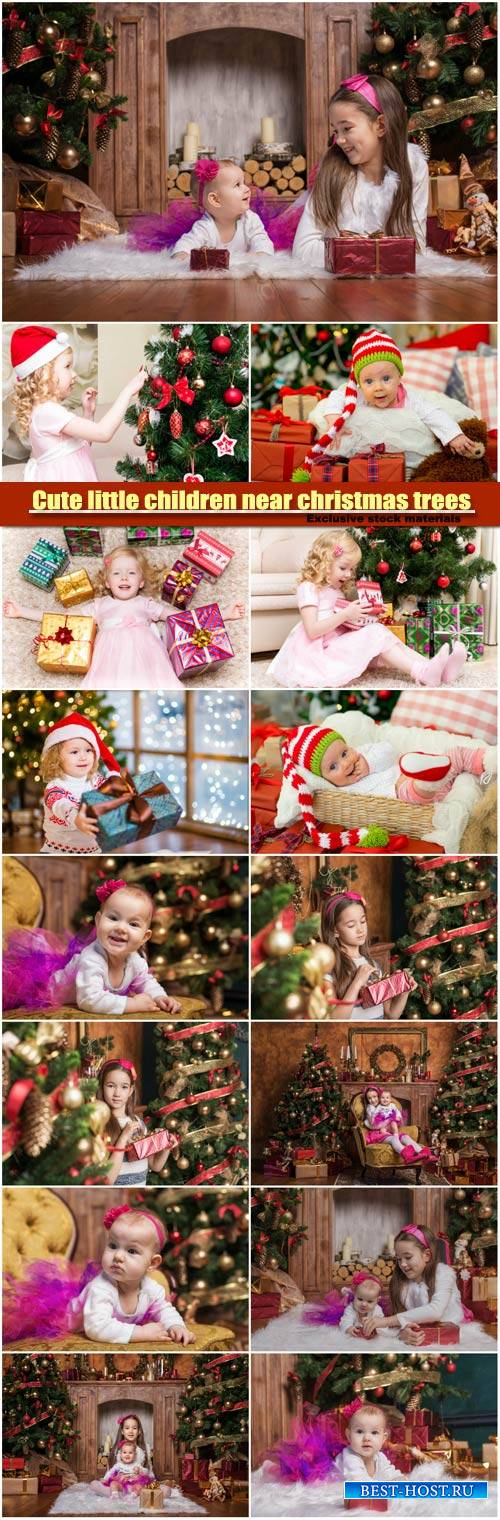 Cute little children near christmas trees opens gift