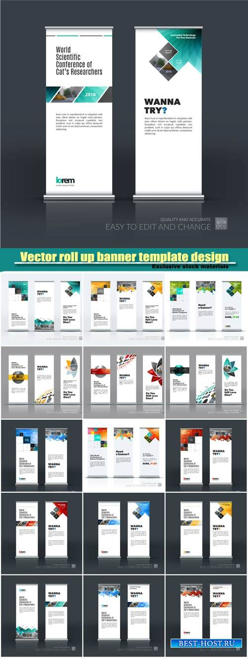Business vector set of modern roll Up Banner