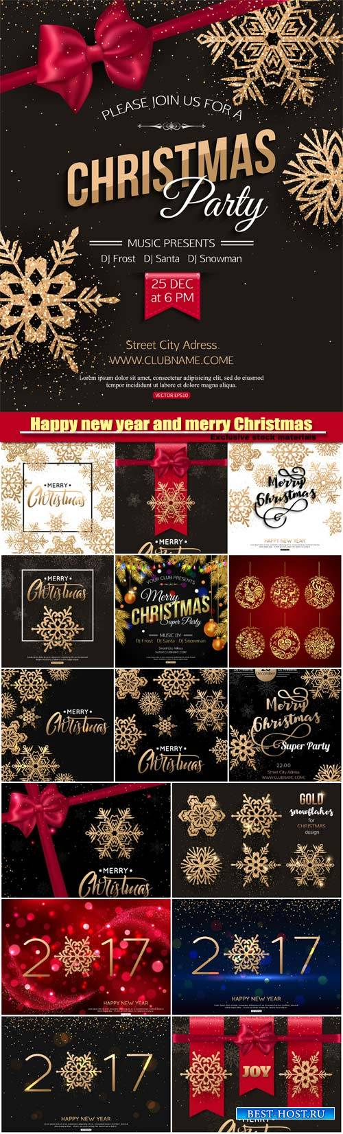 Merry Christmas and Happy new year vector, snowflakes background